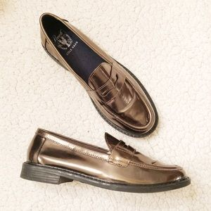 Cole Haan flats penny loafers metallic size 7